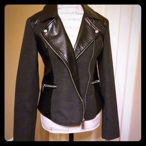 Kenneth Cole black gray faux leather moto jacket
